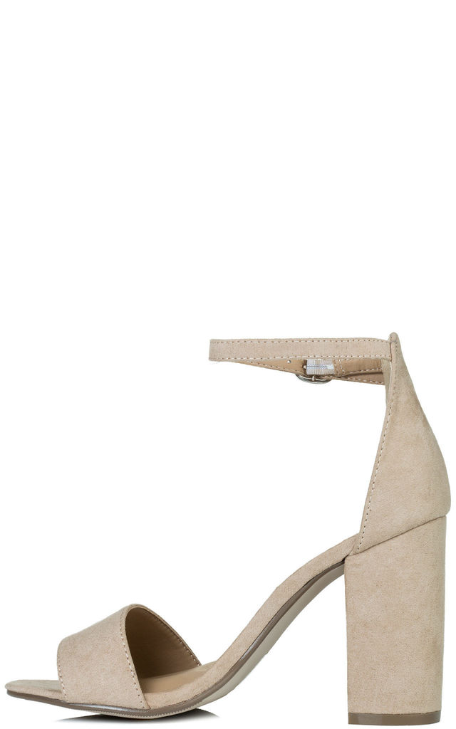 SASS Open Peep Toe Sandals with Block Heel in Nude Faux Suede by SpyLoveBuy