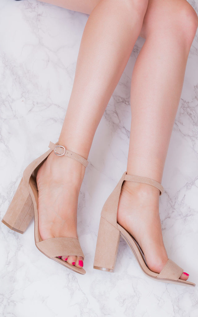 d21ebc94e3f SASS Open Peep Toe Sandals with Block Heel in Nude Faux Suede by SpyLoveBuy