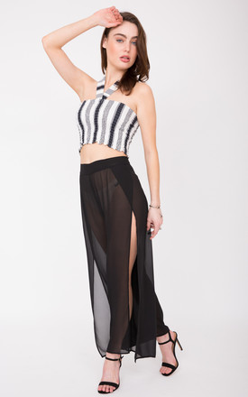 Sheer Side Split Festival Trousers Black by likemary