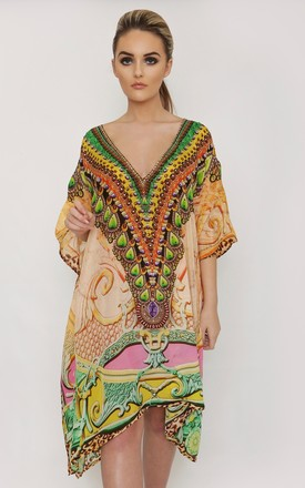 Heaven Peach Printed Kaftan by Kitten Beachwear