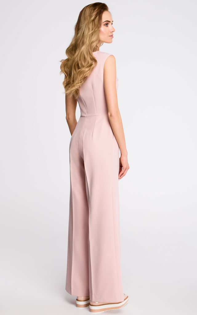 Pink Elegant Jumpsuit With Draped Top by MOE