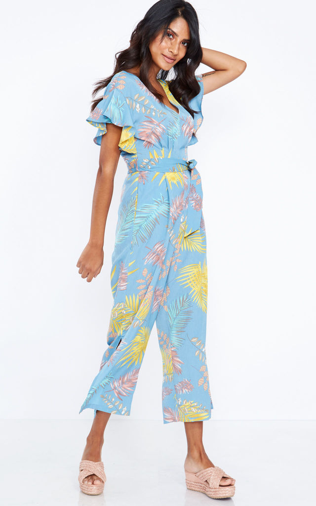 IDALIA – Frill Sleeve Pale Blue Jumpsuit by Blue Vanilla