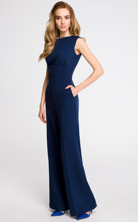 Navy Blue Elegant Jumpsuit With Draped Top by MOE