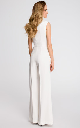 Sleeveless wide leg Jumpsuit in white by MOE