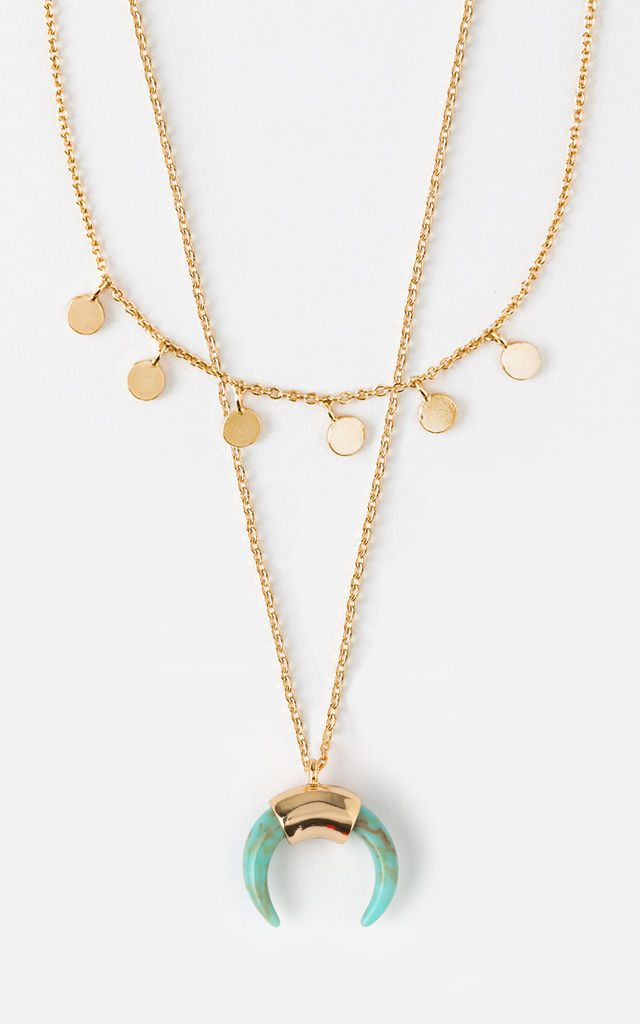 Mini Coin & Horn Necklace - Turquoise by Orelia London
