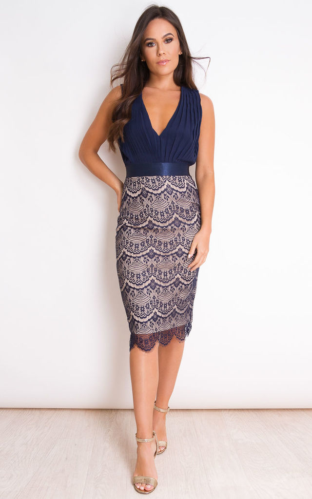 f344678dc14d Naomi Pleated Plunge Lace Bodycon Midi Dress Navy by Girl In Mind