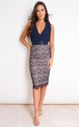 Naomi Pleated Plunge Lace Bodycon Midi Dress Navy by Girl In Mind Product photo