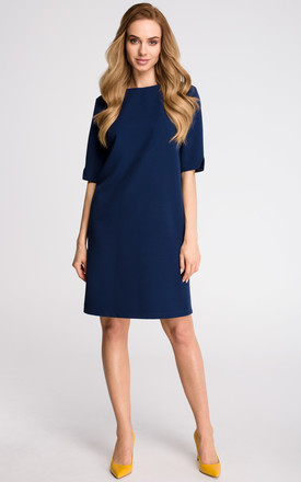 Navy Blue Simple Mini Dress With Cut Sleeves by MOE