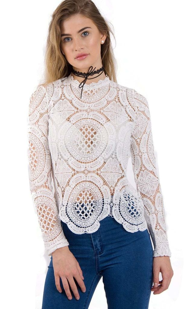White Long Sleeve Lace Crochet Top With Back Zip by Urban Mist