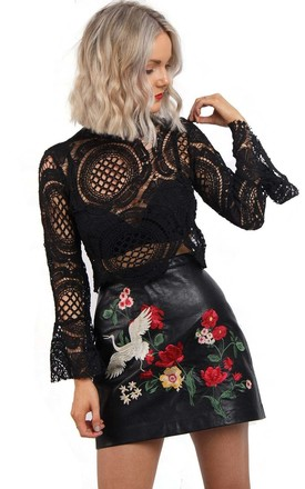 Black Cropped Crochet Lace Bell Sleeve Top by Urban Mist