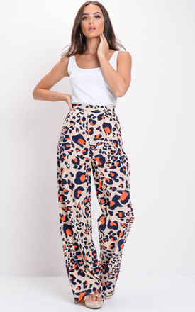 60ae2c1ad5fe9 High Waisted Leopard Print Wide Leg Palazzo Trousers Multi