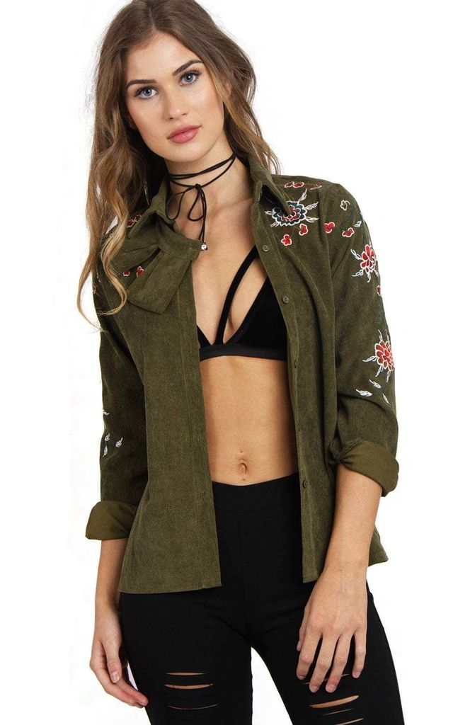 Khaki Green Felt Bow Collar Button Up Floral Embroidered Blouse Shirt by Urban Mist