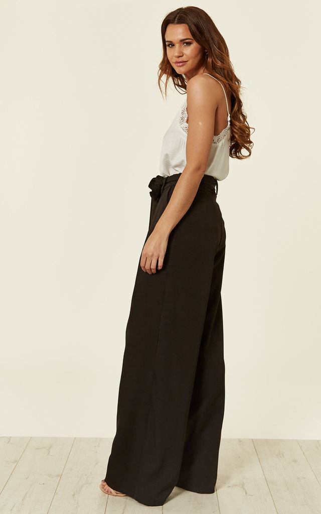 Black Tailored Wide Leg Trouser by MISSI LONDON