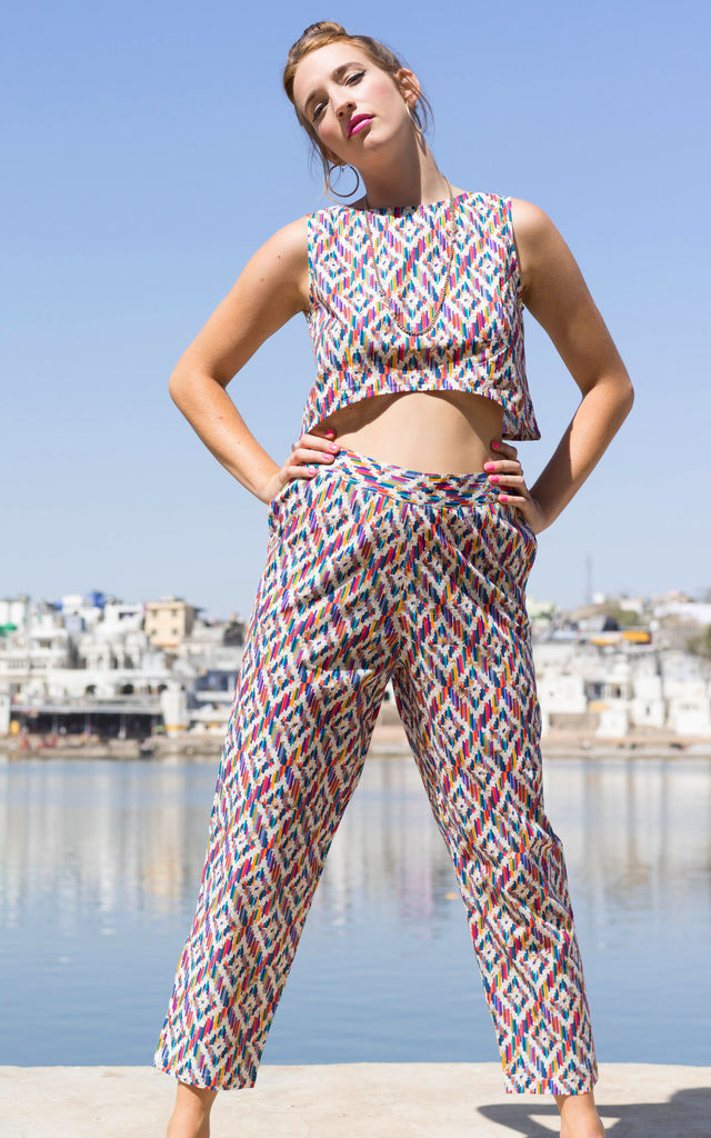 Jo Pink Geometric Print Cotton Crop Top by Krissyfied Boutique