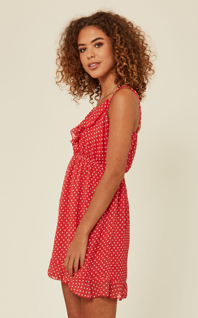 Red Polka Dot Mini Dress by Oeuvre