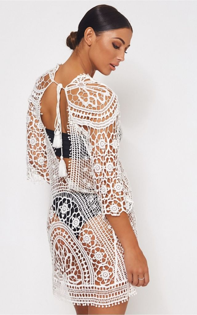 Giana White Crochet Beach Cover Up by The Fashion Bible
