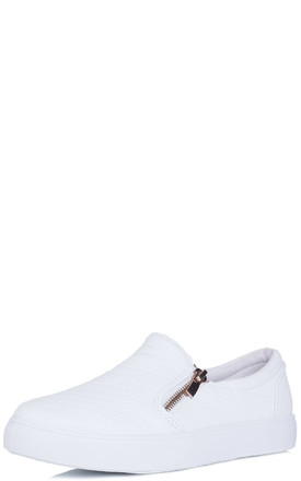 ANOCONDER Zip Flat Loafer Shoes - White Leather Style by SpyLoveBuy