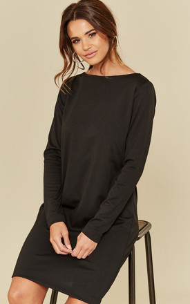 Black Long Sleeve O Neck Dress by Pieces Product photo