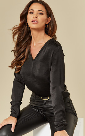 Black Long Sleeve V Neck Top by VILA Product photo