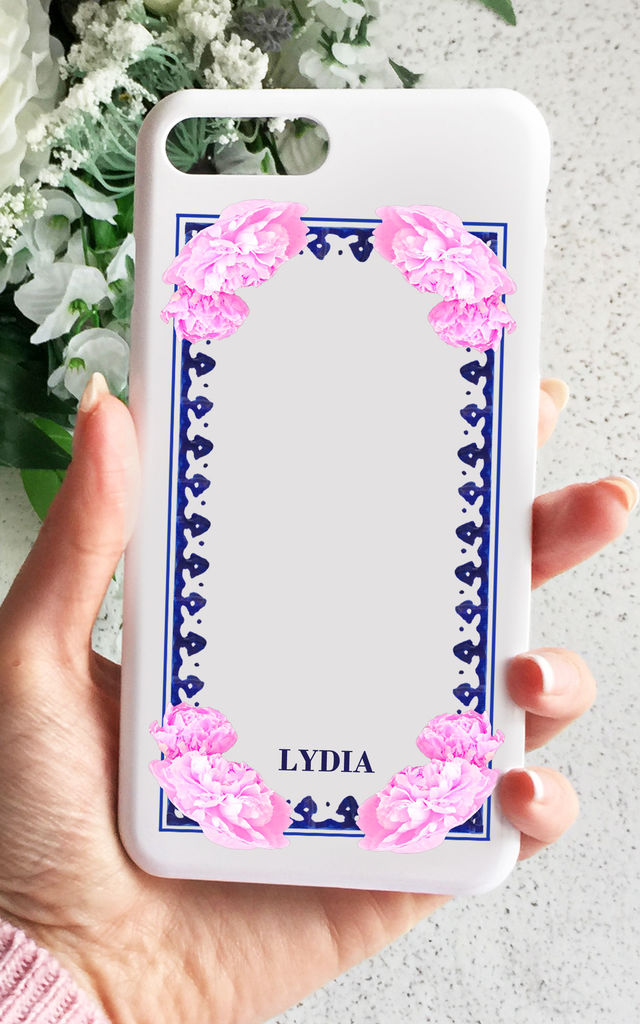 Floral framed monogram phone case - small initials by Rianna Phillips