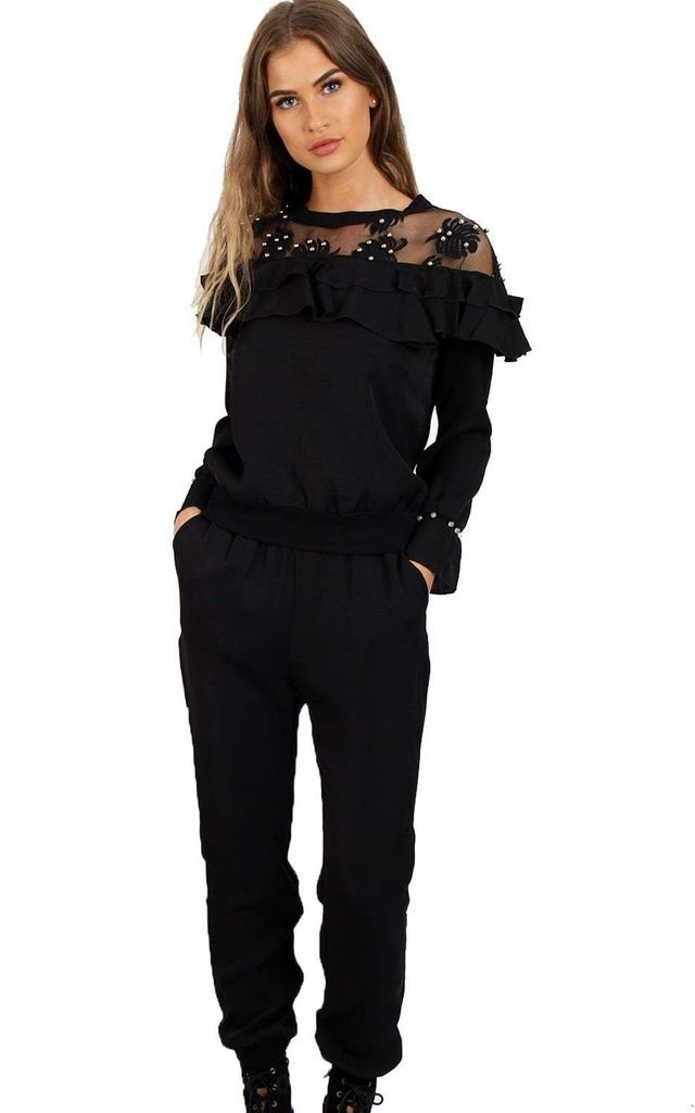 Black Beads Ruffles Mesh Net Lounge Wear Set Tracksuit by Urban Mist