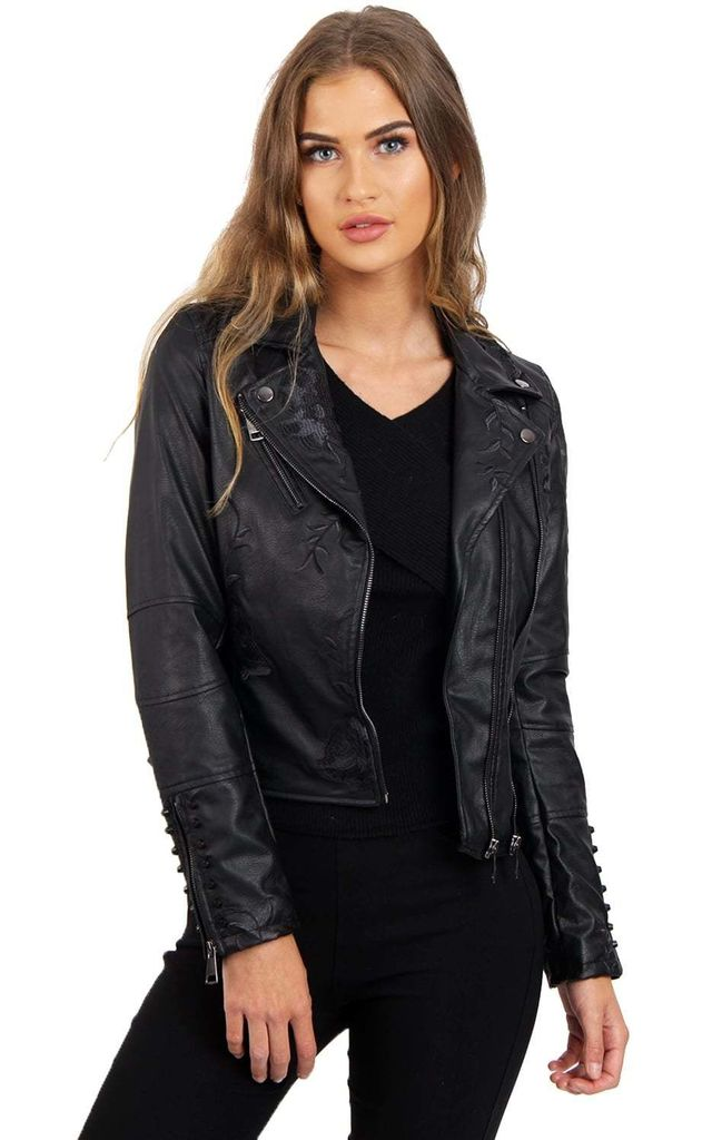 Black Floral Embroidered Studded Detail Faux Leather Biker Jacket by Urban Mist