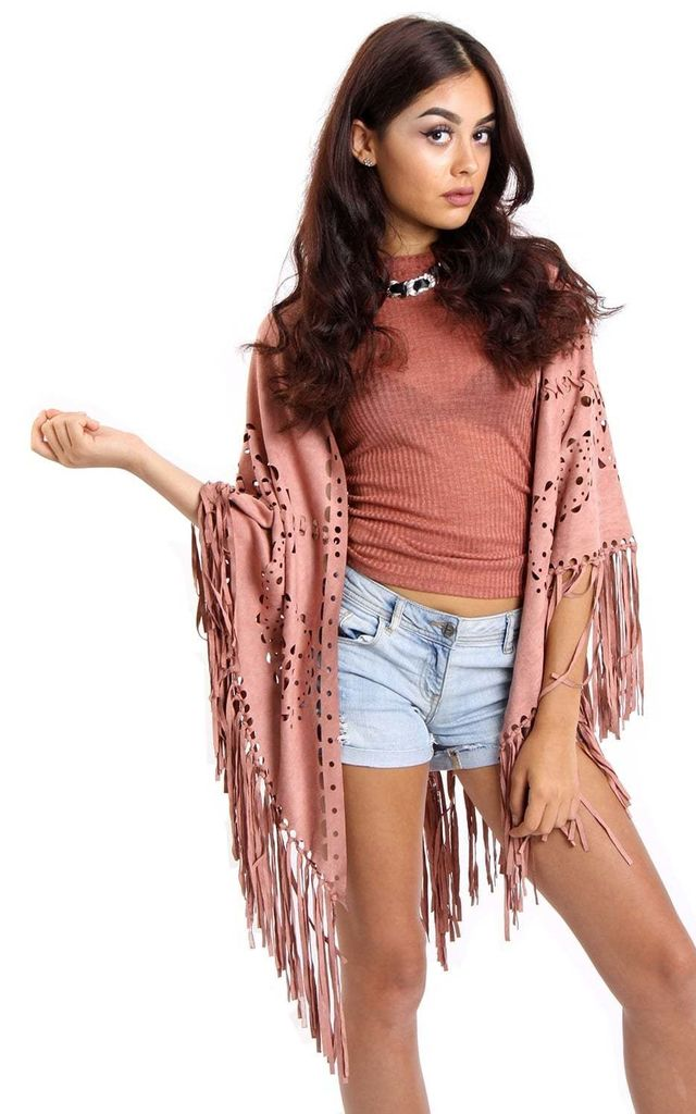 Dusty Pink Faux Suede Laser Cut Fringe Cape by Urban Mist