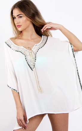 White Sequins Embellishment Kaftan Top Cover Up by Urban Mist
