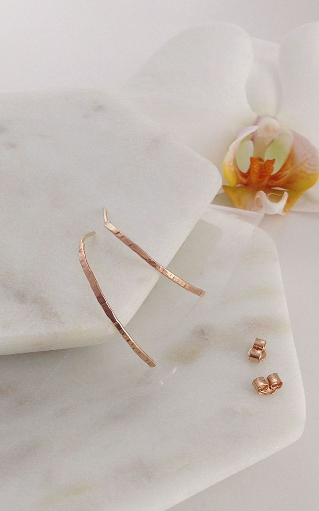Solid Rose Gold Small Karma Hoop Earrings by Lily Flo Jewellery