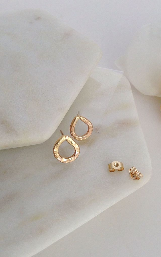 Solid Gold Teardrop Stud Earrings by Lily Flo Jewellery