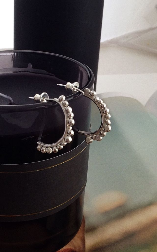 Large Sterling Silver Ball Hoop Earrings by Lily Flo Jewellery