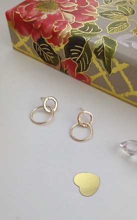 Solid Gold Linked Stud Earrings by Lily Flo Jewellery