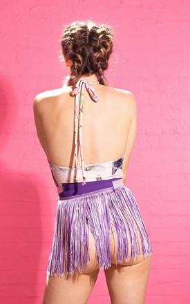 APHRODITE Fringed Cover Up Skirt Purple by Loonigans