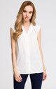 Sleeveless V neck Shirt in white by MOE