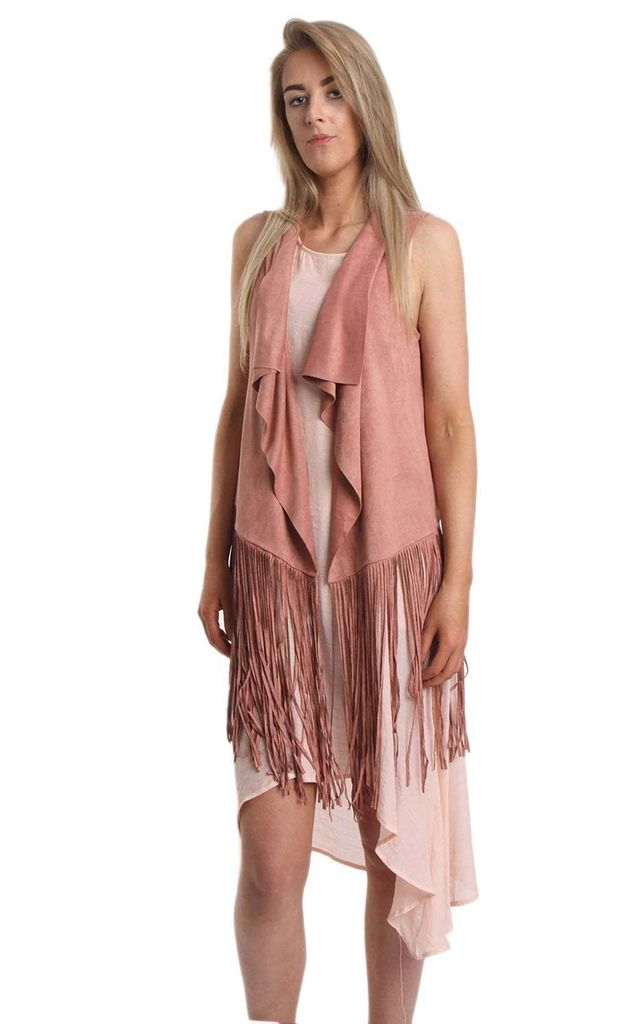 Rose Pink Faux Suede Waterfall Fringed Waistcoat by Urban Mist