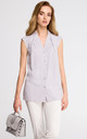 Grey V Neck Sleeveless Delicate Shirt With Overlaps by MOE