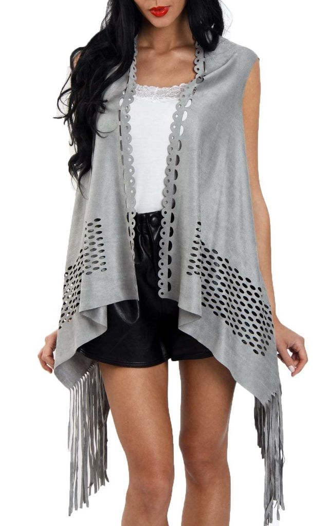 Light Grey Laser Cut Faux Suede Waterfall Fringed Waistcoat by Urban Mist