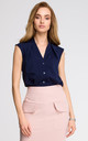 Navy Blue V Neck Sleeveless Delicate Shirt With Overlaps by MOE