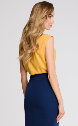 Yellow V Neck Sleeveless Delicate Shirt With Overlaps by MOE