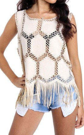 Cream Fringe Faux Suede Crochet Top Tassel by Urban Mist