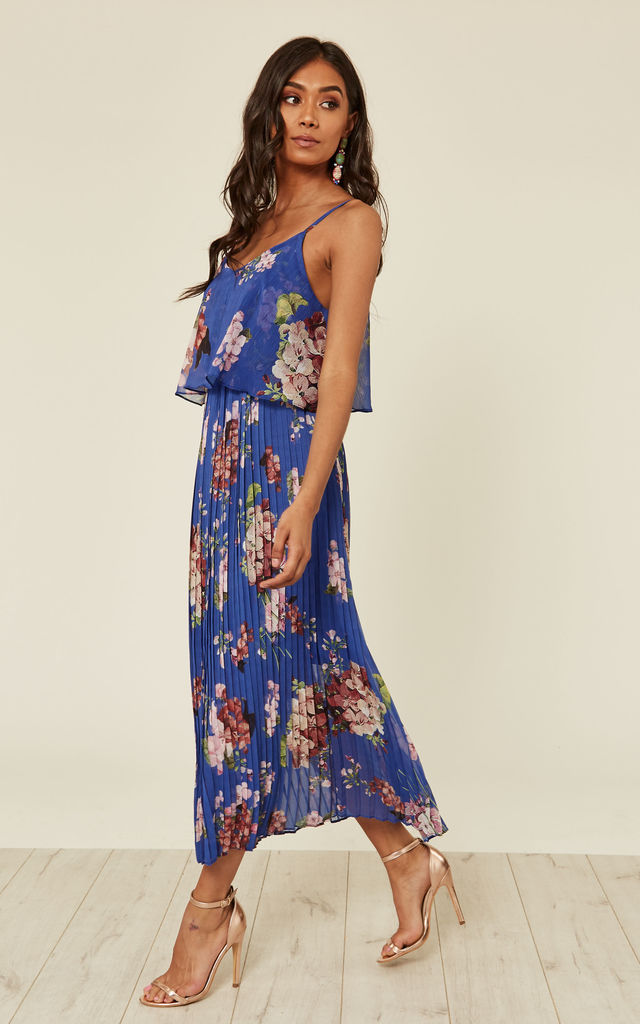 Dark Blue Floral Print Pleated Cami Midi Dress by URBAN TOUCH