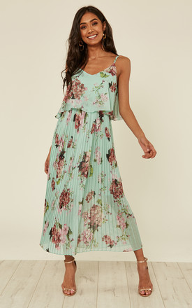 Mint Floral Print Pleated Cami Midi Dress by URBAN TOUCH Product photo
