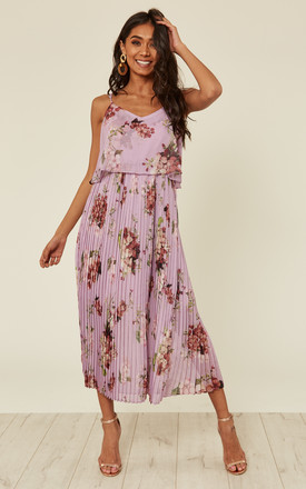 Lilac Floral Print Pleated Cami Midi Dress by URBAN TOUCH Product photo