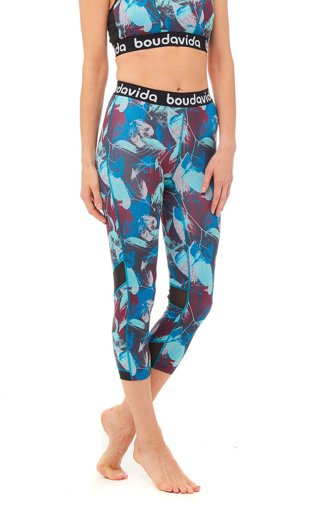 High Waist Zoom Leggings In Leaf Print by Boudavida