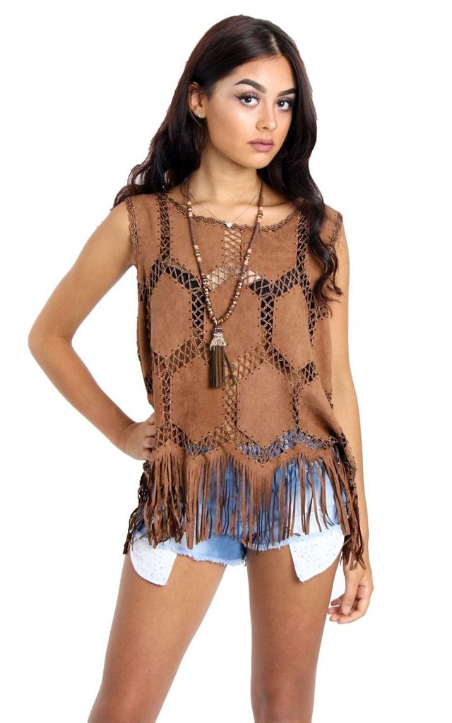 Brown Fringe Faux Suede Crochet Top by Urban Mist