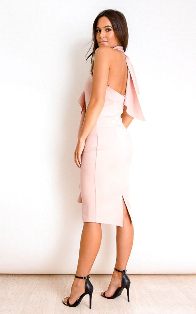 Bella Frill High Neck Midi Dress Nude by Girl In Mind