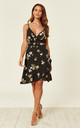 Cami Floral Wrap Dress in Black by Zibi London