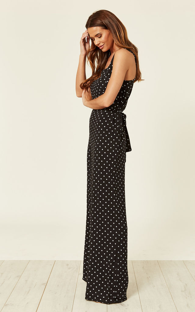 Polka Dot Black and White Summer Jumpsuit by Zibi London