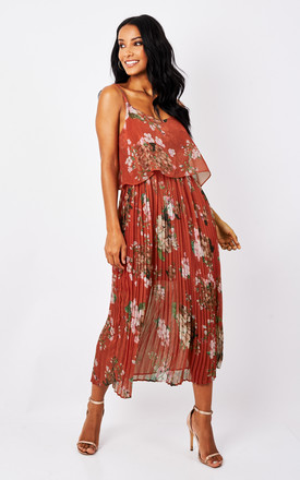 Red Floral Print Pleated Cami Midi Dress by URBAN TOUCH