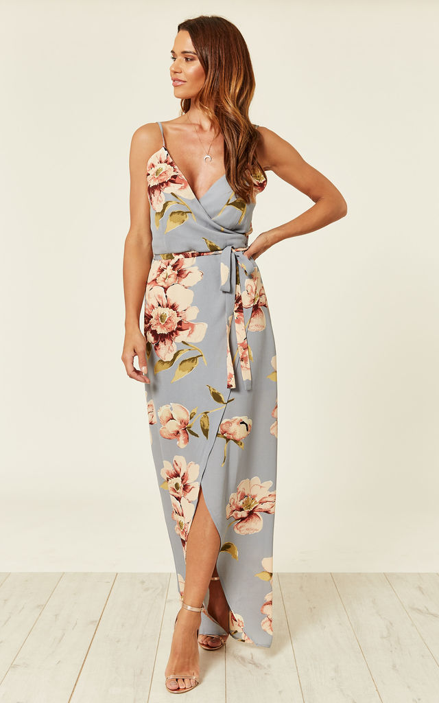 a8d04d5df8b Mia Floral Wrap Maxi Dress Silver by Girl In Mind